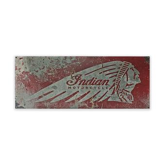 Indian Motorcycle Distressed Steel Sign Red