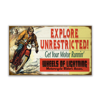 Explore Unrestricted Motorcycle Sign