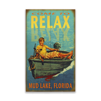 Relax Boy in Boat Sign
