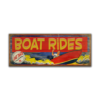 Boat Rides Brightly Colored Sign