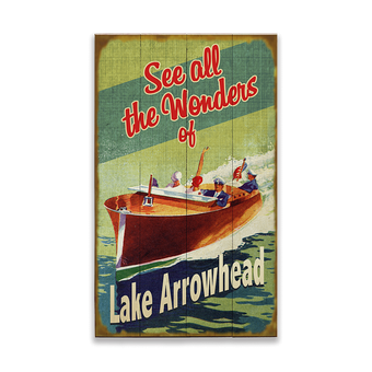 Wooden Boat (Green Background) Sign
