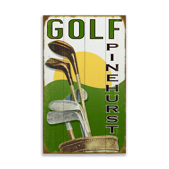 Golf Course Sign with Golf Clubs