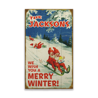 We Wish You a Merry Winter Sleding Sign