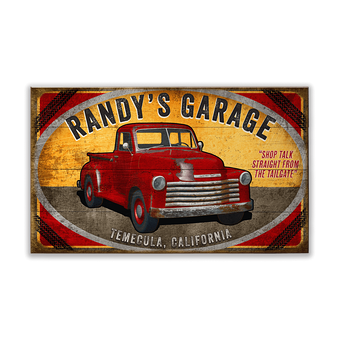Red Truck Garage Sign