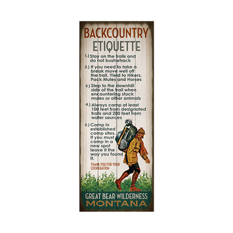 Backcountry Etiquette Camping Sign