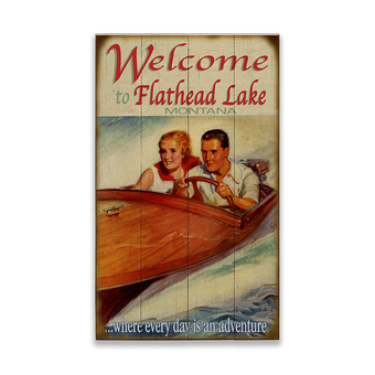 Wooden Boat Adventure Couple Sign