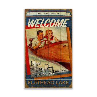 Wooden Boat Adventure Couple Sign 2