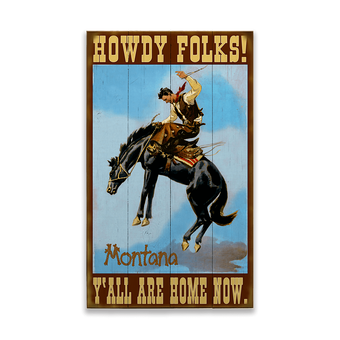 Howdy Folks Bronc Rider Sign