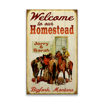 Two Horse Riders Homestead Sign