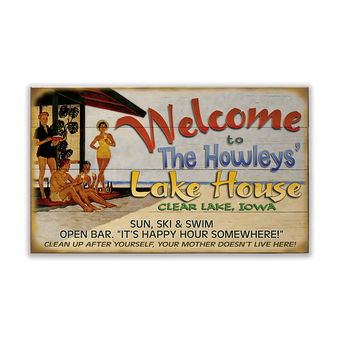 Welcome to the Lake House (60's Style) Sign