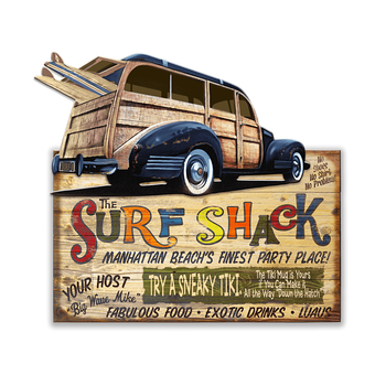 Surf Shack with Woody (2pc.) Sign