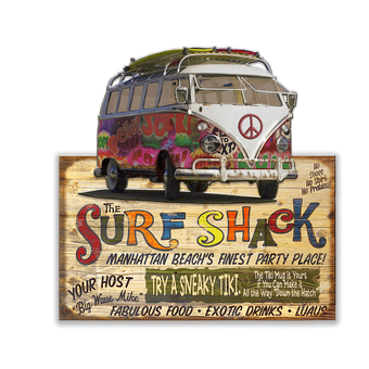 Surf Shack with Bus (2 Pc) Sign