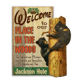 Bear Cubs in Tree (2pc) Sign