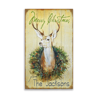 Holiday Buck in Wreath, on Wood
