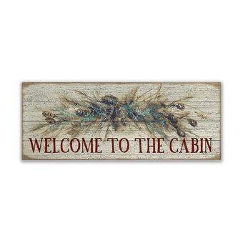 Garland Cabin Sign on Wood