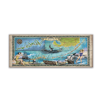 Florida Keys Summer Adventure Vintage Map