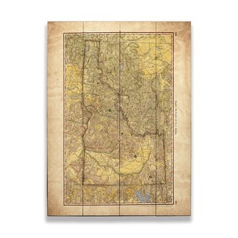 Historic Vintage Map of Idaho Wagon Roads