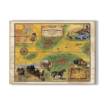 Historic Vintage Map of Jackson Wyoming