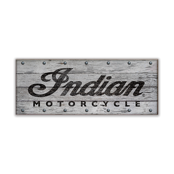 Indian Motorcycle Whitewashed Wood Slated Sign