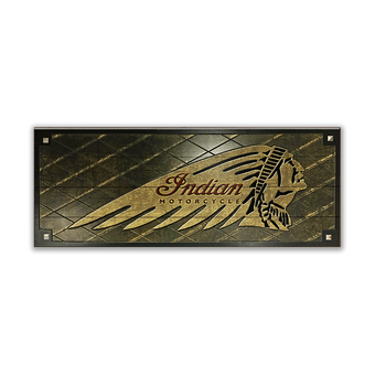 Indian Motorcycle Carved Diamond Pleats with Studs Sign