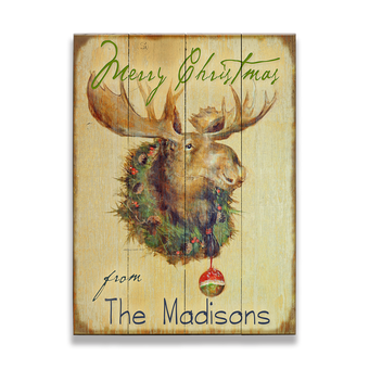 Moose in Wreath Sign