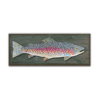 Rainbow Trout Metal and Wood - Sign