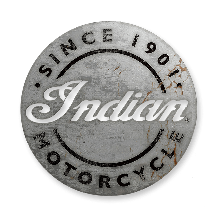 Indian Motorcycle Vintage Aluminum Cutout Round Sign - Indian Motorcycle Vintage Aluminum Cutout Round Sign