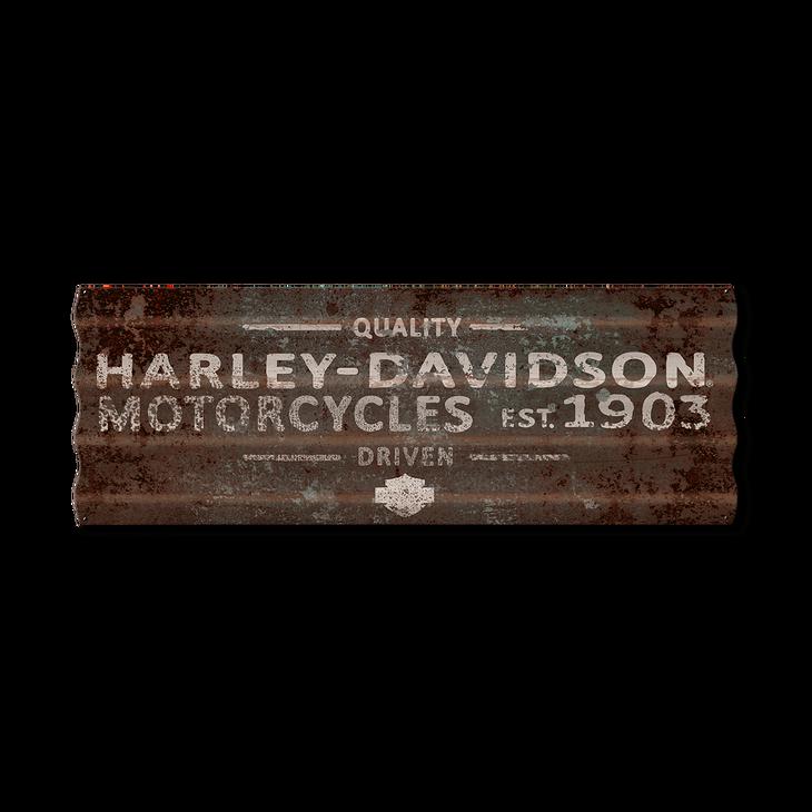 Industrial HarleyDavidson Corrugated Metal Sign Old Wood Signs Extraordinary Harley Davidson Signs Decor