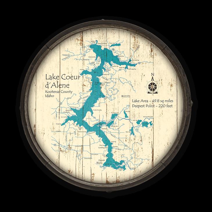 Lake Coeur d'Alene Idaho Wooden Barrel End Map on lookout pass idaho map, old idaho map, dalton gardens idaho map, south fork snake river idaho map, fernan idaho map, colville idaho map, ketchum idaho map, blackfoot idaho map, idaho idaho map, panther creek idaho map, cougar gulch idaho map, trail of the coeur d'alenes map, lemhi pass idaho map, lewiston idaho map, nez perce county idaho map, greenville idaho map, north idaho map, springfield idaho map, givens hot springs idaho map, cordelaine idaho map,