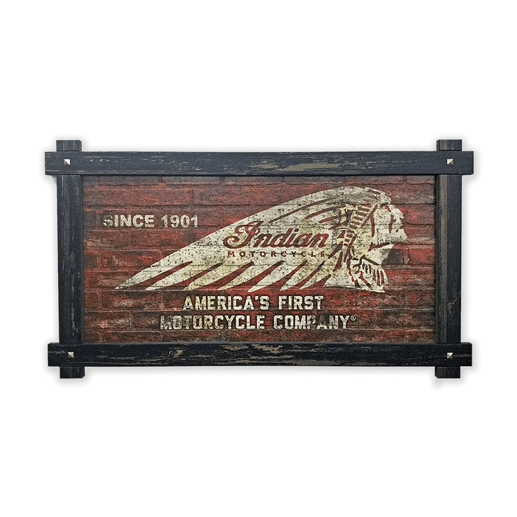 Indian Motorcycle Brick Textured Headdress Frame Sign - Indian Motorcycle Brick Textured Headress Frame Sign