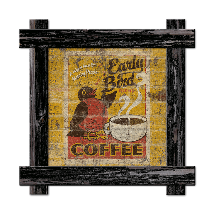 Early Bird Coffee Old Wood Signs