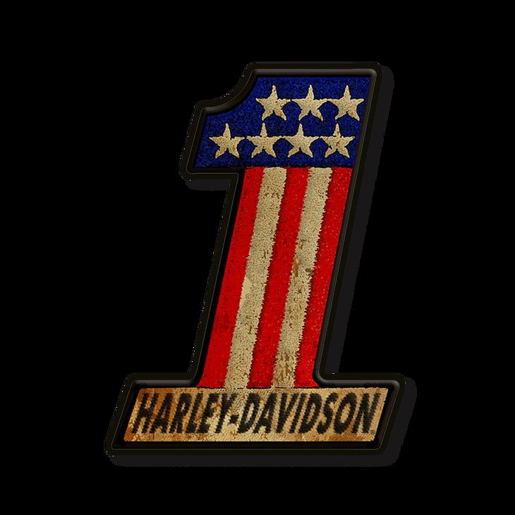 number one harley-davidson logo patch sign - old wood signs