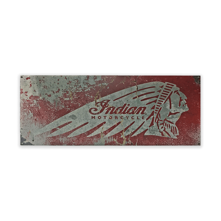 Indian Motorcycle Distressed Steel Sign Red - Indian Motorcycle Distressed Steel Sign Red