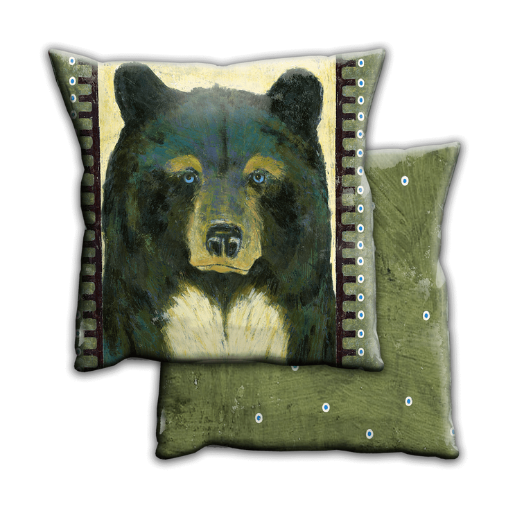 Timber Black Bear Indoor Outdoor Pillow Old Wood Signs