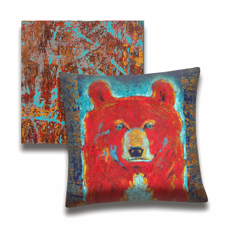 Red Bear Turquoise Indoor Outdoor Pillow Old Wood Signs