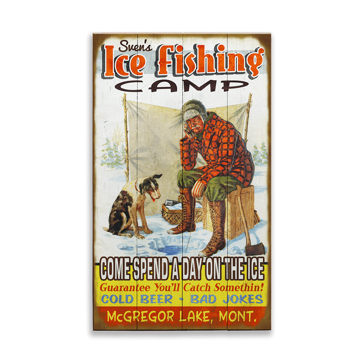Ice Fishing Camp Vintage Sign - Ice Fishing Camp Vintage Sign