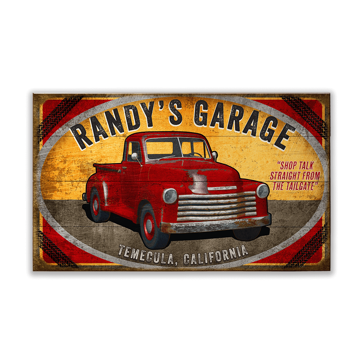 Red Truck Garage Sign Old Wood Signs