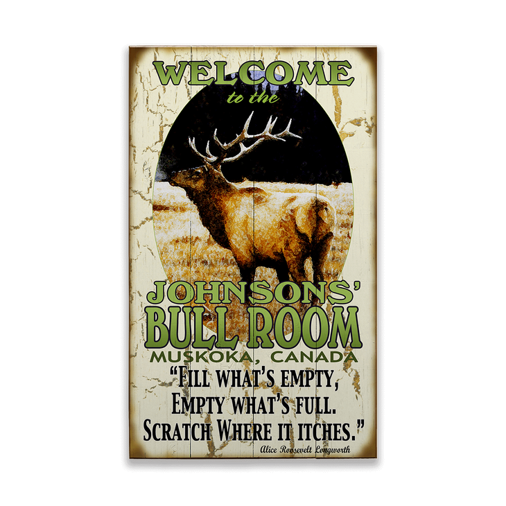 Bull Elk Room Sign Old Wood Signs