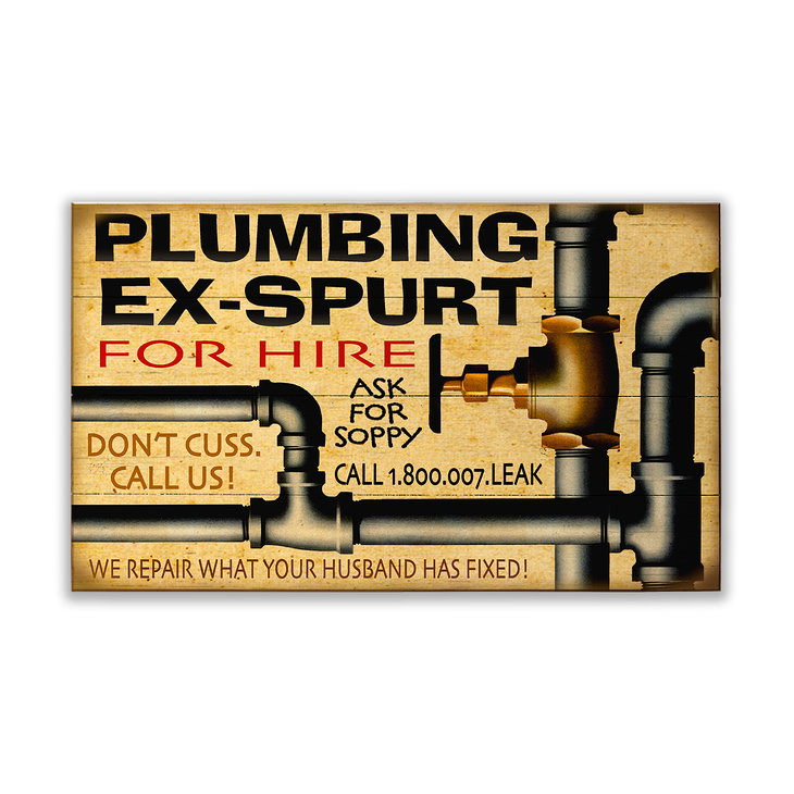Personalized Vintage Plumbing Sign - Ex Spurt - Old Wood Signs