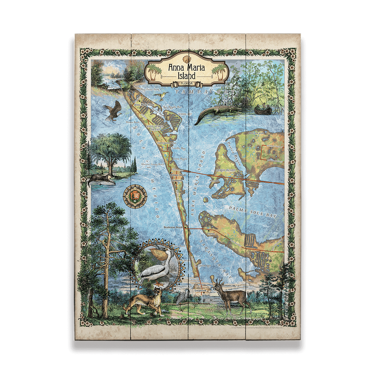 Historic Anna Maria Island Florida Vintage Map Old Wood Signs