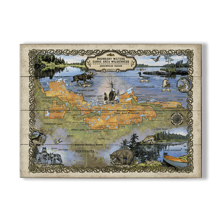 Boundary Waters Minnesota Vintage Map Old Wood Signs