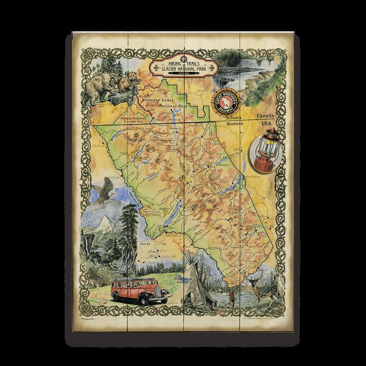 Historic Vintage Glacier National Park Hiking Trails Map - Old Wood ...