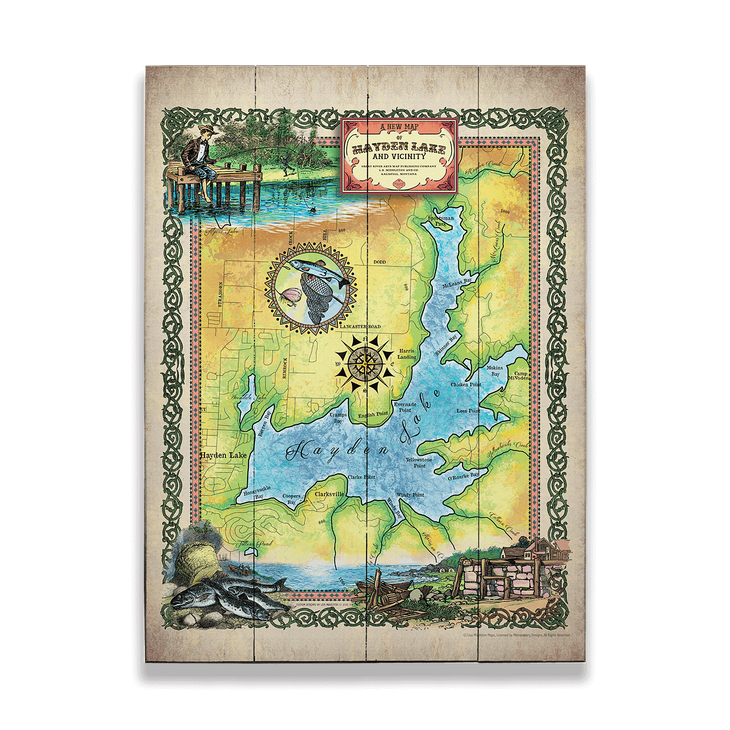 Historic Hayden Lake Idaho Vintage Map Old Wood Signs