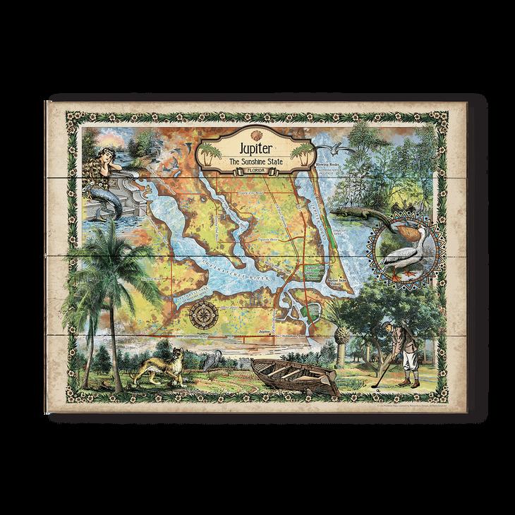 Map Of Florida Showing Jupiter.Historic Jupiter Inlet Florida Vintage Map Old Wood Signs
