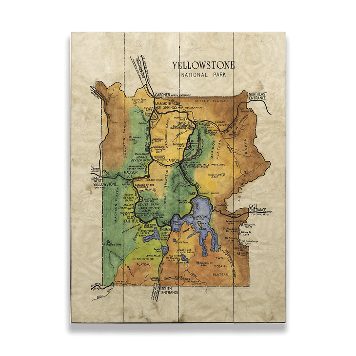 Historic Yellowstone National Park \'49 Vintage Map