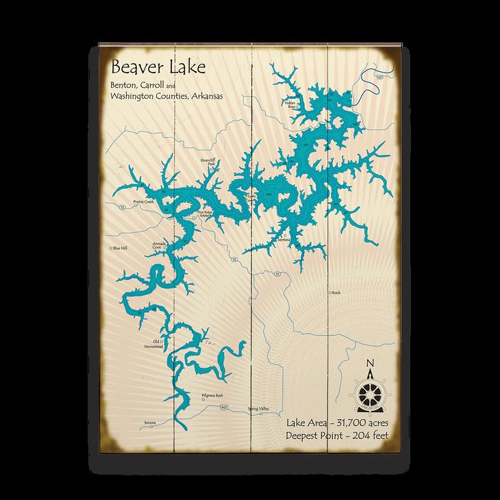 Beaver Lake Arkansas Lake Map