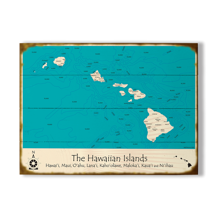 Hawaiian Islands Map Sign - Old Wood Signs