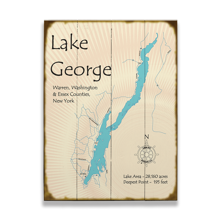 Lake George Ny Map Lake George New York Map Sign   Old Wood Signs Lake George Ny Map