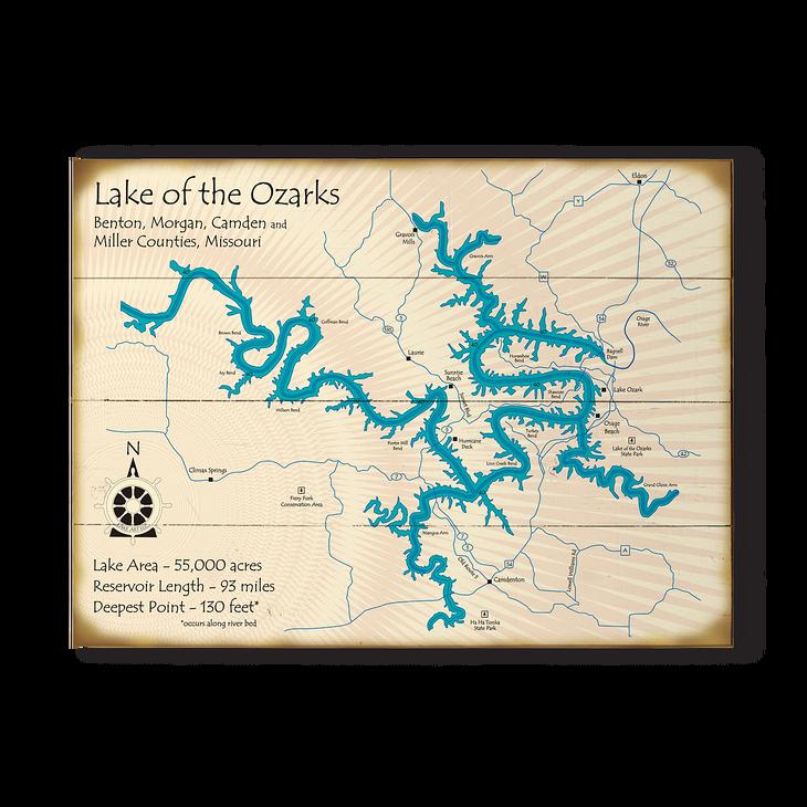 lake ozark missouri map Lake Of The Ozarks Vintage Map Sign Old Wood Signs lake ozark missouri map
