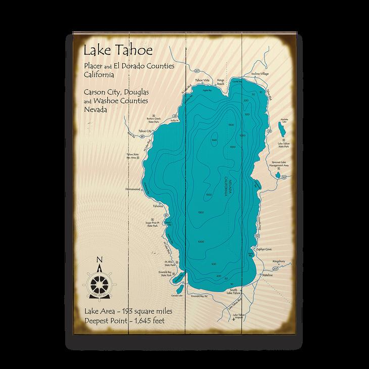 Lake Tahoe Vintage Map Sign - Old Wood Signs